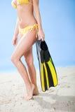 Beautiful young woman in bikini with snorkel Royalty Free Stock Photos