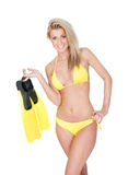 Beautiful young woman in bikini with snorkel Royalty Free Stock Photos