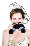 Beautiful Young Woman With Binoculars Stock Photo