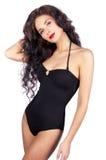 Beautiful young woman in black bikini Royalty Free Stock Photos