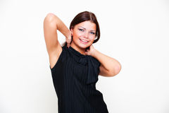 Beautiful young woman in black dress Stock Images