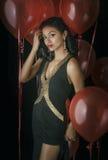 Beautiful young woman black dress Royalty Free Stock Image