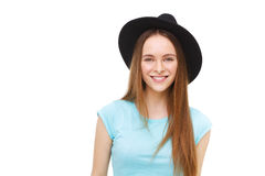 Beautiful young woman in black hat portrait isolated on white. Stock Images
