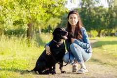 Beautiful young woman with black labrador retriever. Beautiful young woman posing with her black labrador retriever on the pathway at summer Stock Images
