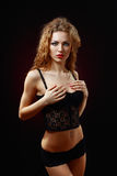 Beautiful young woman in black lingerie Royalty Free Stock Photography