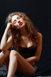 Beautiful young woman in black lingerie Royalty Free Stock Image