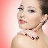 Beautiful young woman with black nails Royalty Free Stock Photography