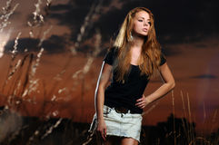 Beautiful young woman in black shirt Stock Photos