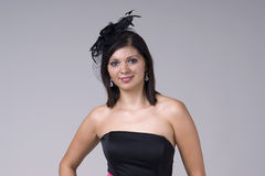Beautiful young woman in black soiled Royalty Free Stock Images