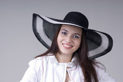 Beautiful young woman in black soiled Royalty Free Stock Photo