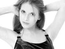 Beautiful Young Woman In Black and White Stock Image