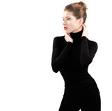 Beautiful young woman in black. On white background Stock Images