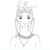 Beautiful young woman black and white illustration. In the style of the American Indians. Listens to music on headphones. Coloring book Royalty Free Stock Photography