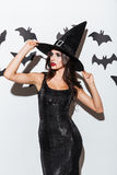Beautiful young woman in black witch halloween costume with hat Stock Photography