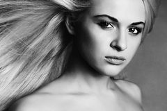 Beautiful Young Woman.Blond girl.monochrome portrait Stock Photos