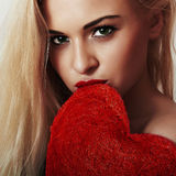 Beautiful young woman.blond girl.Valentines day Heart Stock Images