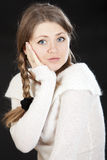 Beautiful young woman blonde dark blue eyes Stock Photography