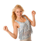 Beautiful young woman with blonde hair and blue eyes gestures su Stock Photo