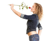 Beautiful young woman blonde in jeans romantic red rose isolated Royalty Free Stock Photography