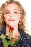 Beautiful young woman blonde in portrait romantic red rose isola Stock Photo