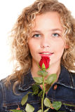 Beautiful young woman blonde in portrait romantic red rose isola Stock Photos