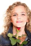 Beautiful young woman blonde in portrait romantic red rose isola Stock Image