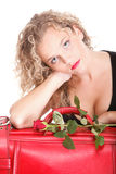 Beautiful young woman blonde romantic red rose Stock Images