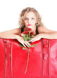Beautiful young woman blonde romantic red rose Stock Photography