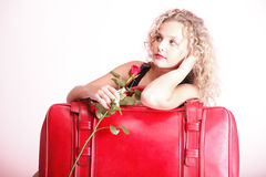 Beautiful young woman blonde romantic red rose Royalty Free Stock Photo