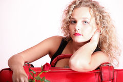 Beautiful young woman blonde romantic red rose Royalty Free Stock Image