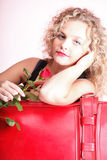 Beautiful young woman blonde romantic red rose Royalty Free Stock Photos