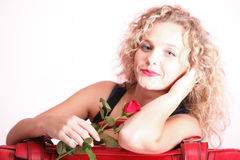 Beautiful young woman blonde romantic red rose Stock Photos