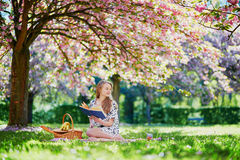 Beautiful young woman in blooming spring park Stock Image