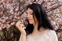 Beautiful young woman in blossom garden Royalty Free Stock Photos
