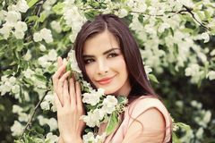 Beautiful young woman in blossom spring flowers background Stock Photo