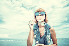 Free Beautiful Young Woman Blowing Bubble In Outdoor, Nature, Near The Ocean. Tropical Magic Island Bali, Indonesia. Royalty Free Stock Images - 91575249