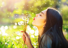 Beautiful young woman blowing dandelions Stock Photos