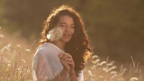 Beautiful young woman blows dandelion in a wheat field in the summer sunset. Beauty and summer concept stock video