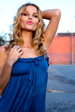 Beautiful Young Woman in a blue dress Stock Photography