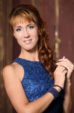 Beautiful young woman in a blue dress Royalty Free Stock Photo