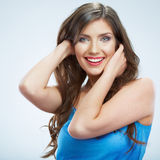 Beautiful young woman blue evening dress portrait. Stock Photo