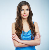 Beautiful young woman blue evening dress portrait. Stock Photography