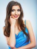 Beautiful young woman blue evening dress portrait. Stock Photos