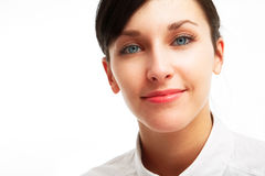 Beautiful young woman with blue eyes. On white background Royalty Free Stock Photos