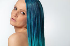 Beautiful young woman with the blue hair Royalty Free Stock Image