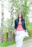 Beautiful young woman with blue jeans jacket Stock Photo