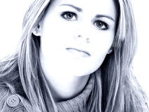 Beautiful Young Woman In Blue Tones Royalty Free Stock Photography