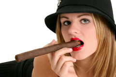 Beautiful Young Woman in Bold Red Lipstick with Cigar in Mouth Stock Photography