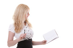 Beautiful young woman with books white background Royalty Free Stock Image