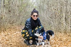 Beautiful young Woman with border collie Dog. Beautiful young woman in the autumn park with her dog stock photography